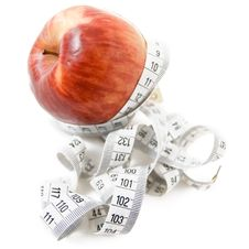 Free Apple With Measuring Tape Stock Image - 6235551