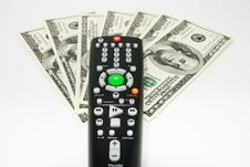 Remote Control With Us Dollars Royalty Free Stock Photography