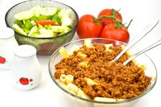 Macaroni ,sauce Bolognese With Salad Royalty Free Stock Photography