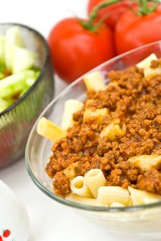 Macaroni ,sauce Bolognese With Salad Stock Image