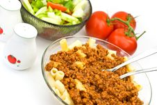 Macaroni ,sauce Bolognese With Salad Stock Images