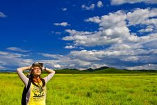Free Happy Girl On Meadow,sky Royalty Free Stock Photography - 6236667