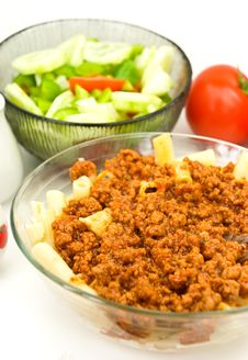 Macaroni ,sauce Bolognese With Salad Stock Photo