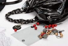 Free Black Bag With Color Beads Stock Image - 6236751