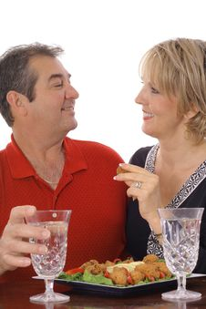 Free Couple Having Snacks Isolated On White Stock Image - 6237201