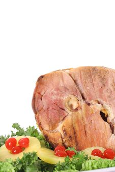 Yummy Honey Baked Ham Vertical Royalty Free Stock Photography