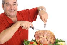 Free Dad Serving A Honey Baked Ham Royalty Free Stock Photos - 6237358