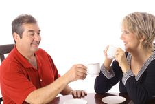 Free Couple Having Coffee Isolated On White Stock Photography - 6237462