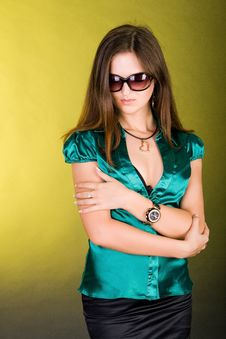 Standing Girl In Green Blouse Stock Image