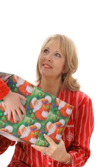 Free Grandmother Getting A Present Royalty Free Stock Photography - 6237867