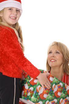 Free Little Girl Giving Grandma A Present Stock Image - 6237871