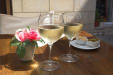 Cool White Wine For A Thirst Satisfying Stock Photography