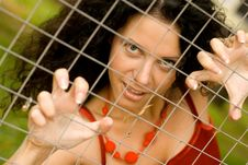 Free Woman Behind A Lattice Royalty Free Stock Image - 6239306