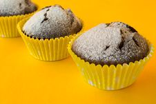 Free Muffins On Yellow Background Royalty Free Stock Photos - 62356828