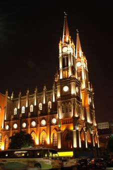 Free Cathedral In Ningbo By Night Stock Image - 6241651