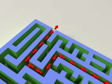 3D Labyrinth With Red Arrow Stock Photography