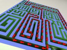 3D Labyrinth With Red Arrow Royalty Free Stock Photos