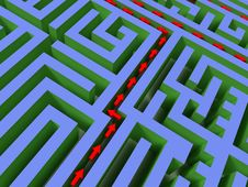 Free 3D Labyrinth With Red Arrow Stock Images - 6241974