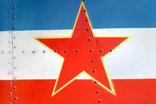 Yugoslav Flag On The Airplane Tail Royalty Free Stock Photo