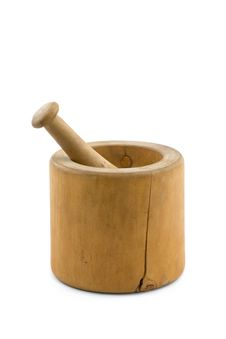 Old Wooden Mortar And Pestle