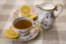 Tea With Lemon And Milk Royalty Free Stock Image