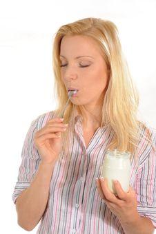 Free Enjoying Yogurt Stock Photos - 6243083