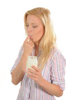 Free Enjoying Yogurt Stock Image - 6243091