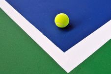 Tennis Ball Just On The Line Stock Image