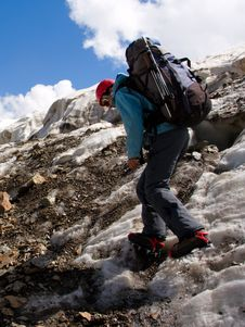Free Climber Girl In Crampon With Backpack Stock Photography - 6244722