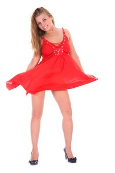 Free Portrait Of The Girl In A Red Dress Royalty Free Stock Photography - 6245297