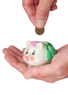 Free Deposits Coin In Piggy Bank Stock Photography - 6245682