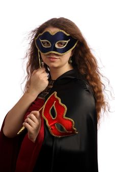 Free Brunette With Venetian Mask Royalty Free Stock Photos - 6245698