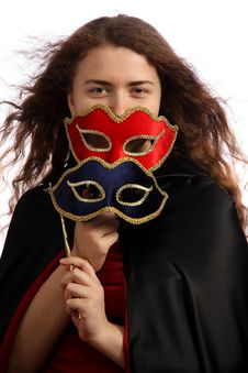Free Brunette With Venetian Mask Royalty Free Stock Image - 6245716