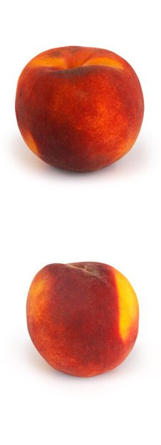 Free Two Peachs On A White Background Royalty Free Stock Image - 6246006