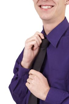 Businessman Fixing His Tie Stock Photos