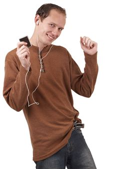 Free Young Caucasian Man Listening To Music Stock Images - 6246804