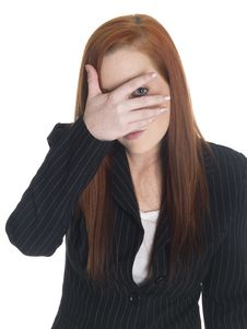 Businesswoman - Can T Look Stock Photography