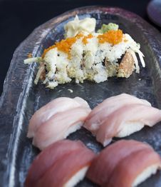 Spicy Tuna Roll With Flyingfish Roe Garnish Stock Image
