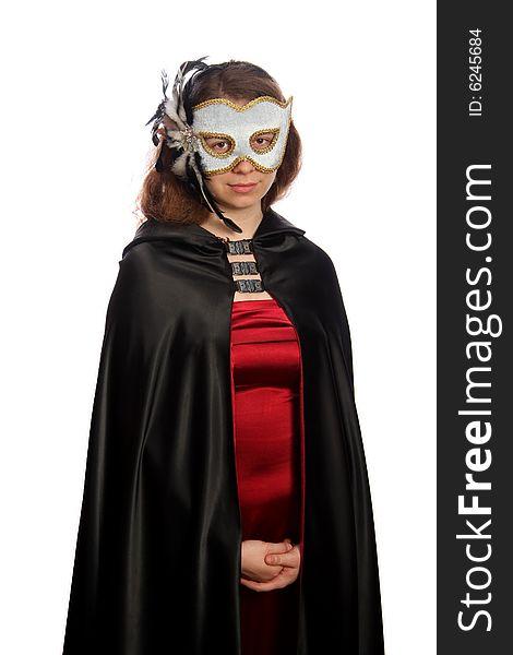 Brunette with venetian mask