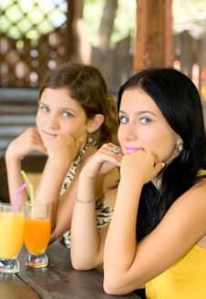 Free Portrait Two Girl And Juice Stock Photo - 6250740