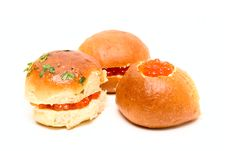 Free Sandwiches With Red Caviar Isolated On White Stock Photography - 6251232