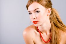Free Girl In A Red Beads Stock Image - 6253171