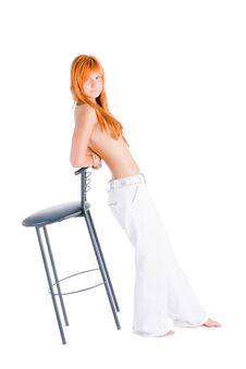 Free Girl With Chair Stock Images - 6253524