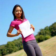 Free Girl With Blank Sign In Field Royalty Free Stock Photo - 6253725