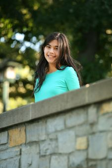 Young Teen Girl Standing On Bridge Stock Photos