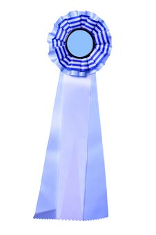 Beautiful Blue And White Ribbon For Award Or Prize Royalty Free Stock Photography