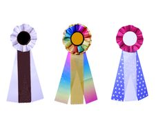 Set Of Three Satin Ribbons Stock Photos