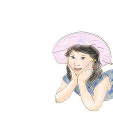Free Girl On Pink Panama Stock Photography - 6258302