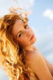 Pretty Young Red-haired Girl Royalty Free Stock Image