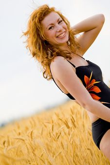 Free Beautiful Girl On Golden Wheat Field Royalty Free Stock Photography - 6259367